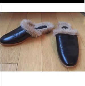 Zara Leather and faur furry Slides